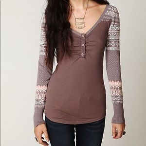 Free People Cabin Fever Fair Isle Henley Thermal